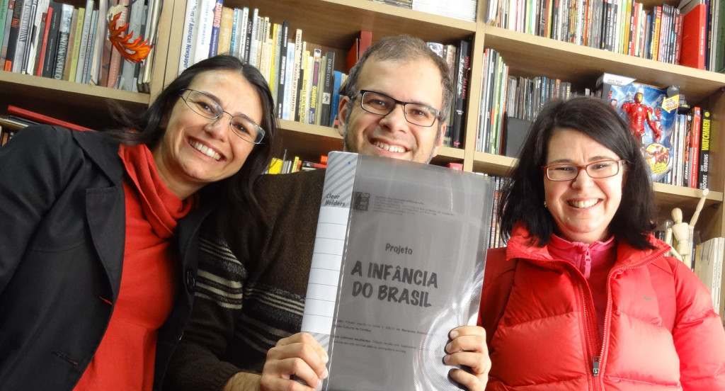 Fernanda Baukat, José Aguiar and Claudia Regina B. Moreira, many months ago, at the end of the first meeting about this project.